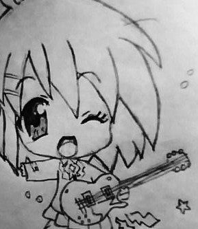 How to draw the girl with long hair in style of Chibi a pencil step by step 3