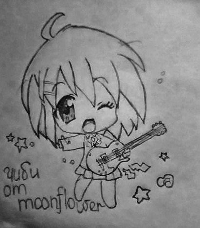 How to draw the girl with a guitar in style of Chibi a pencil