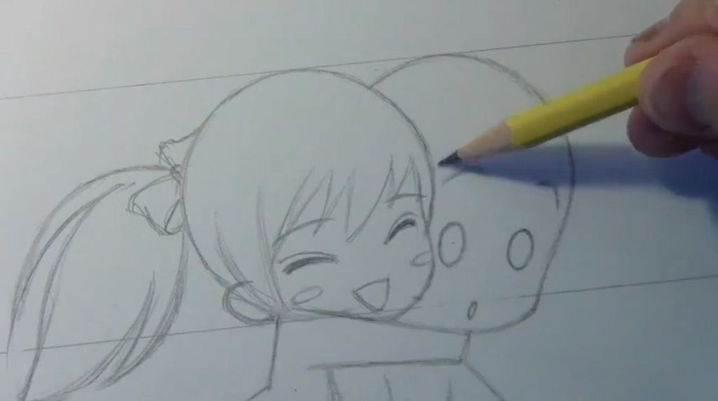 How to draw in style of Chibi (Chibi) winking step by step 4