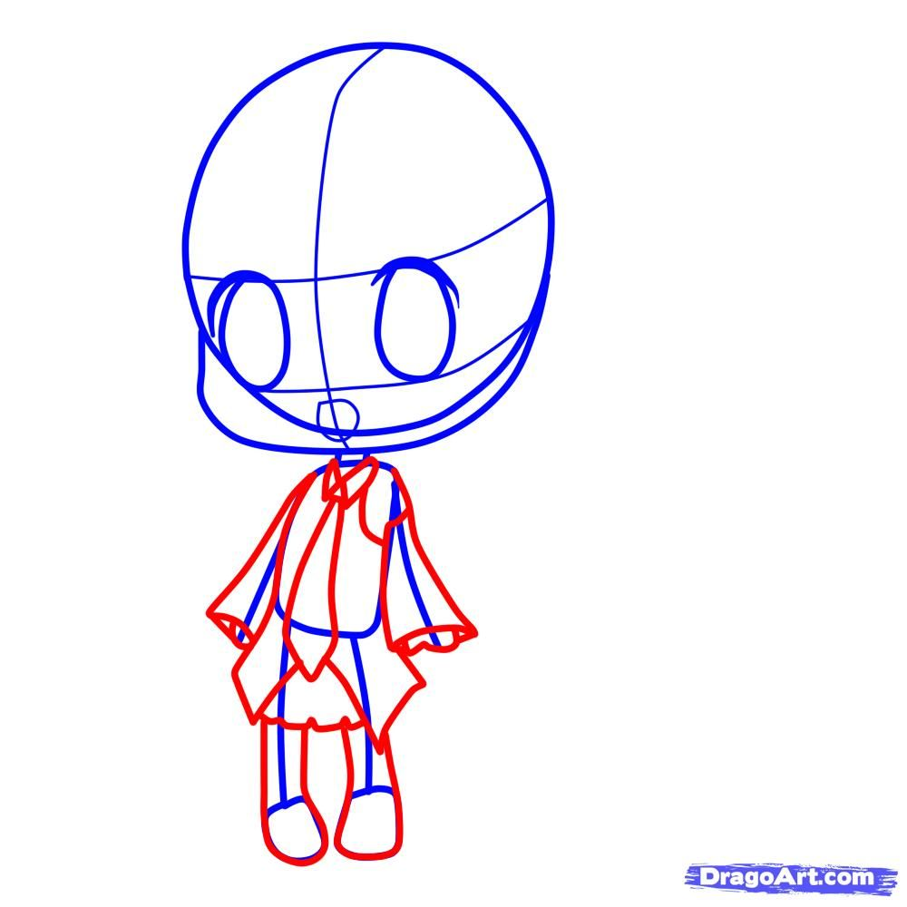 How to draw chib in New Year's clothes with a pencil 5