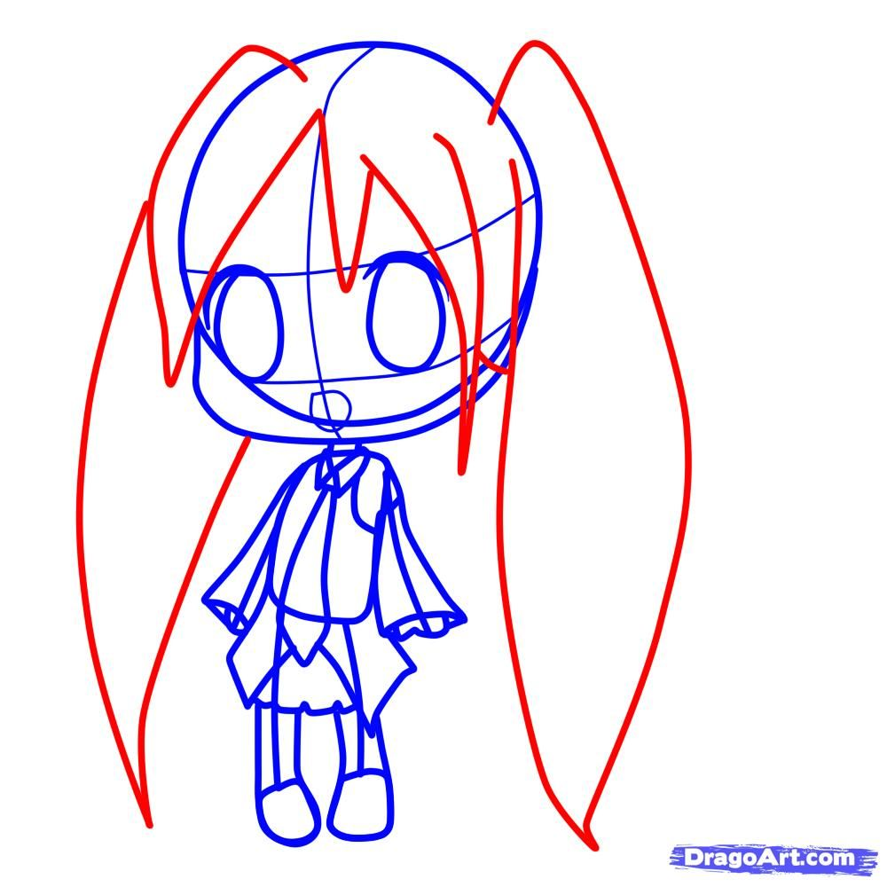 How to draw chib in New Year's clothes with a pencil 6