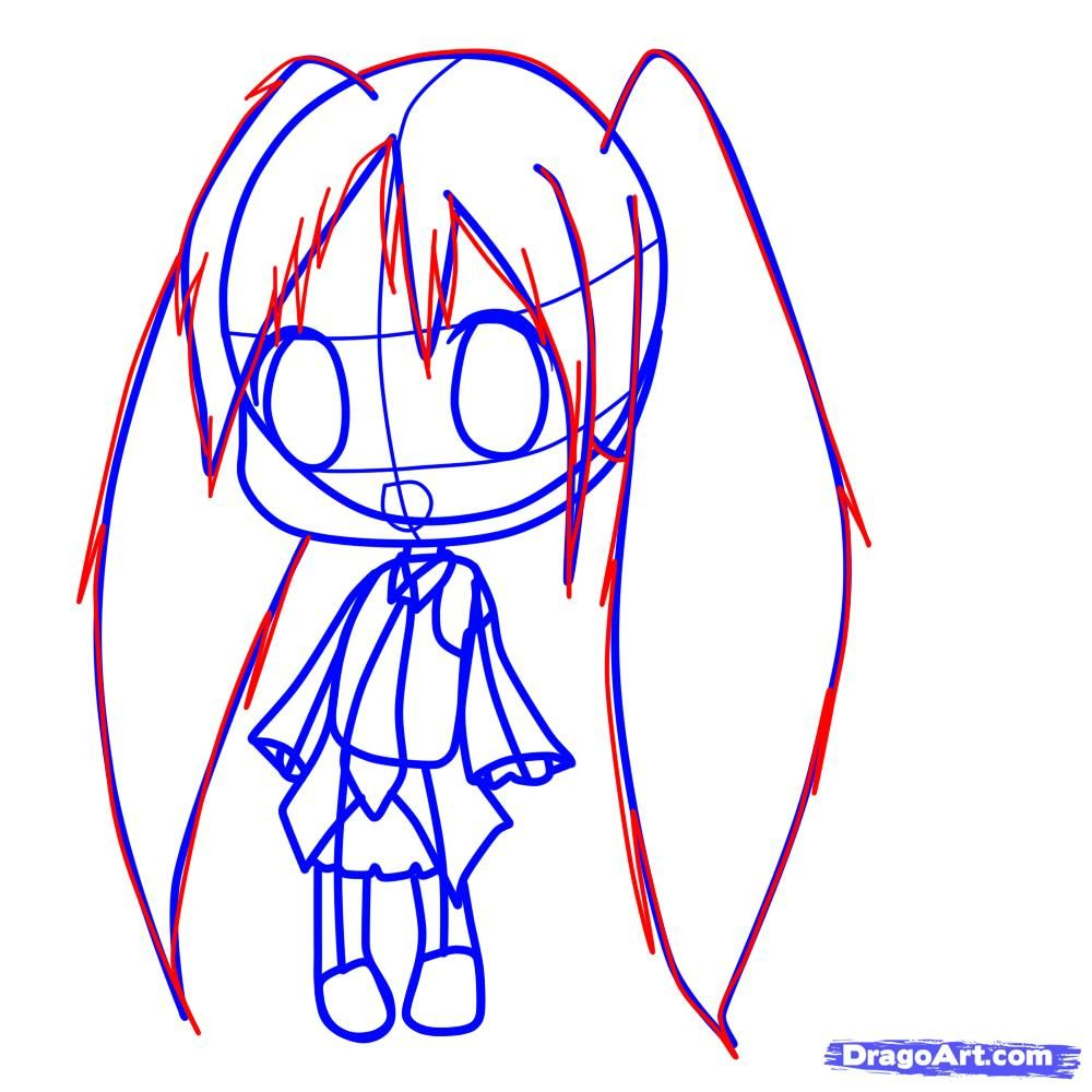 How to draw chib in New Year's clothes with a pencil 7
