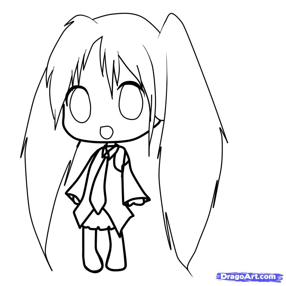 How to draw the girl with long hair in style of Chibi a pencil step by step