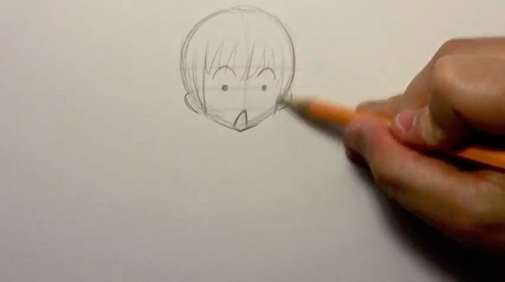 We draw the girl of a chiba in a cap of Father Frost a pencil 2