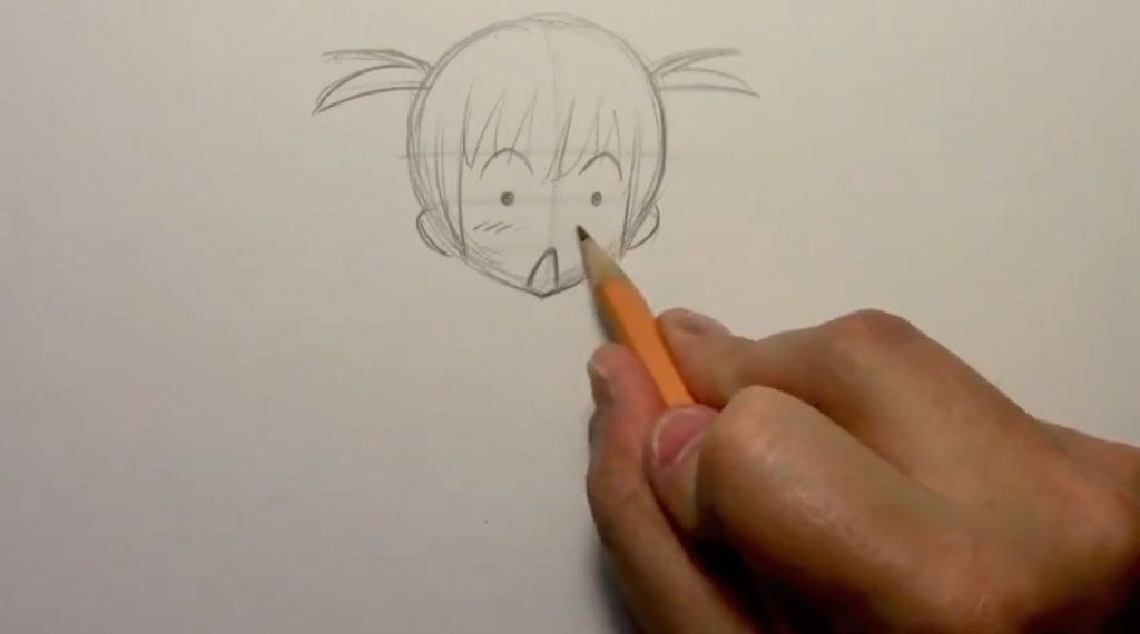 We draw the girl of a chiba in a cap of Father Frost a pencil 3