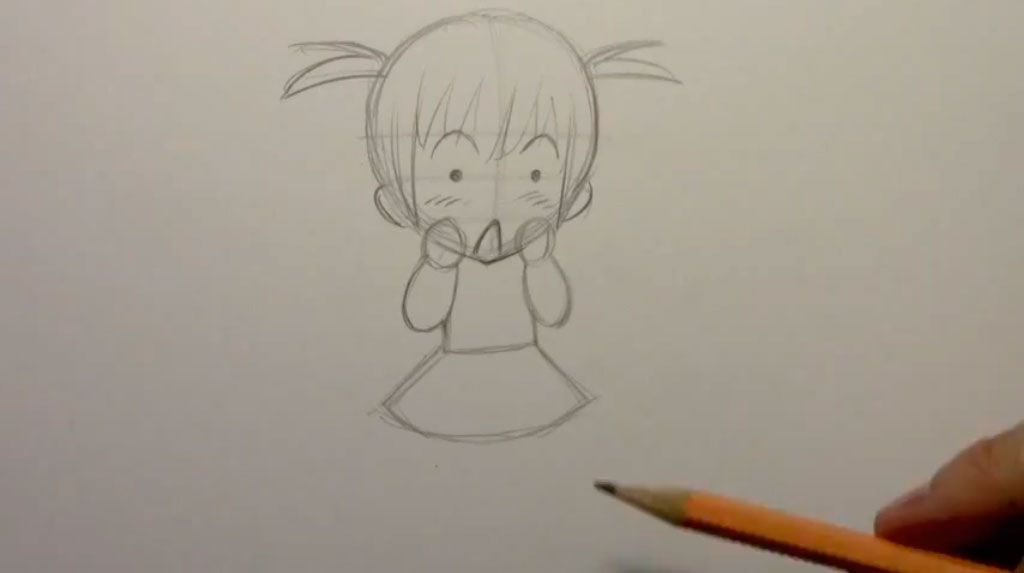 We draw the girl of a chiba in a cap of Father Frost a pencil 4