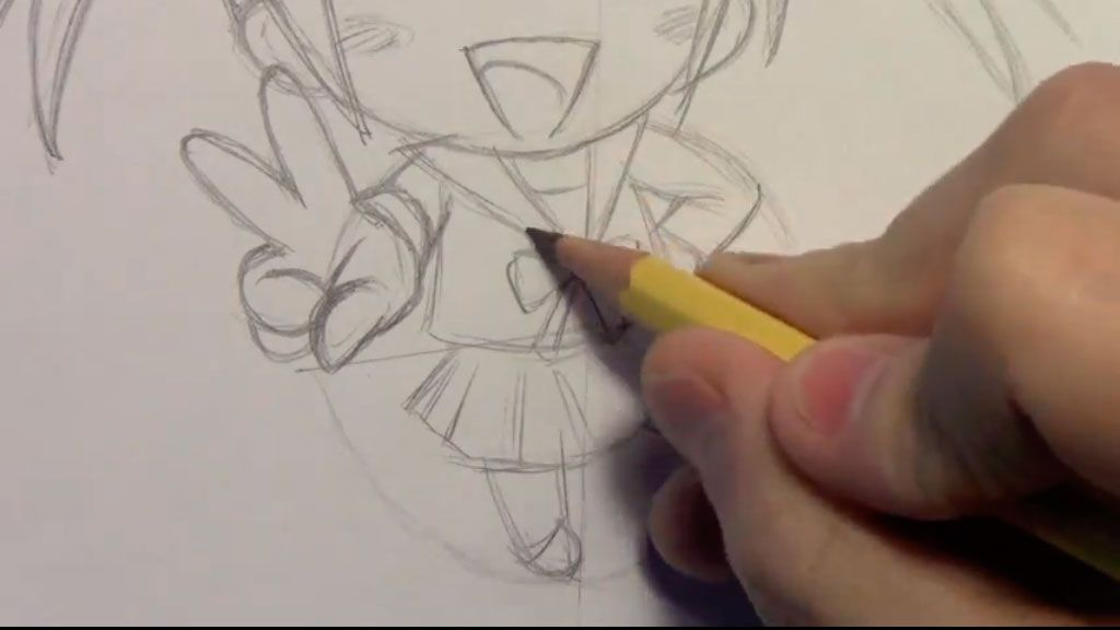 We learn to draw step by step chib the girl a pencil 7