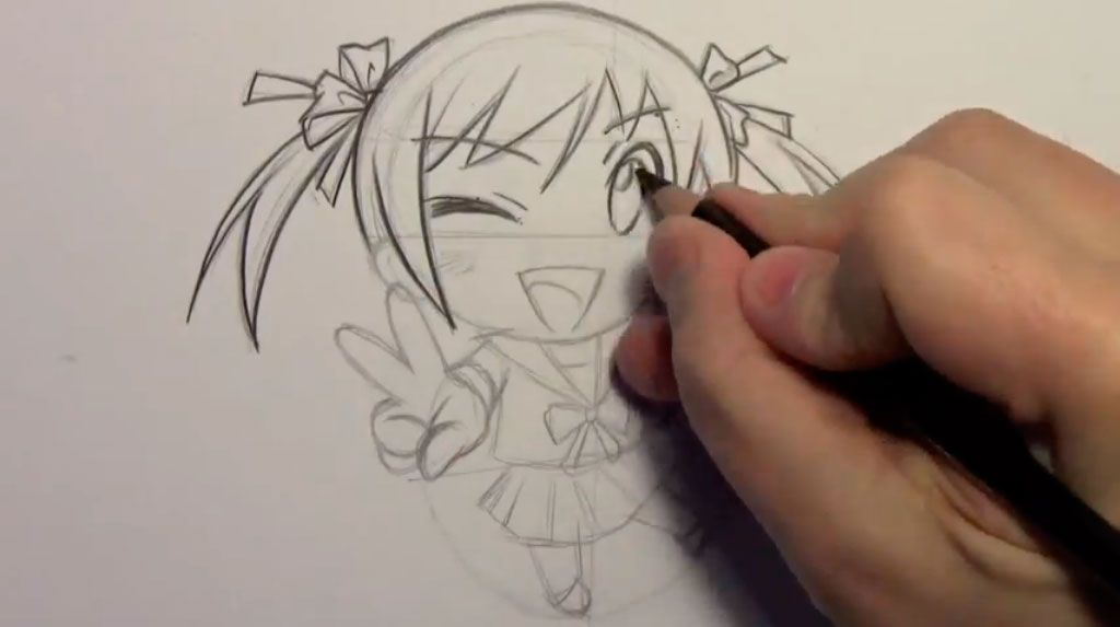 We learn to draw step by step chib the girl a pencil 8
