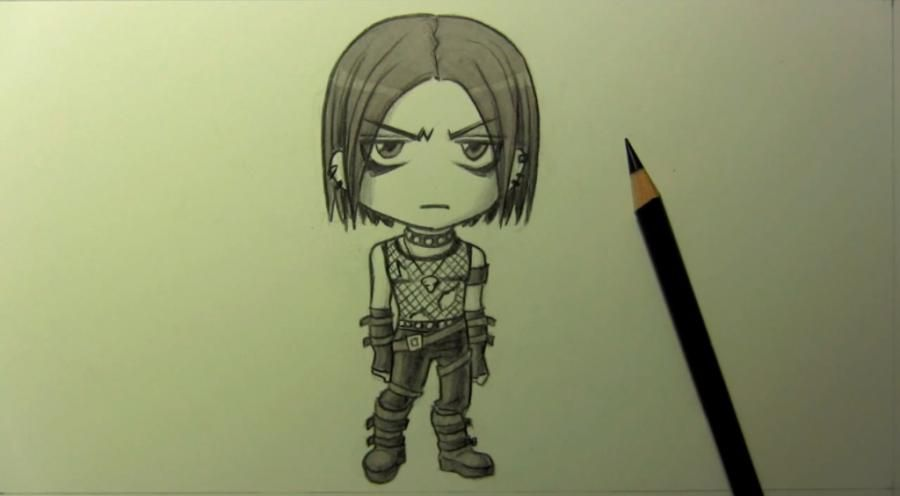 How to draw the gangster's chib with a pencil step by step