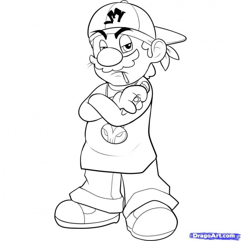 How to draw Mario Gangster with a pencil