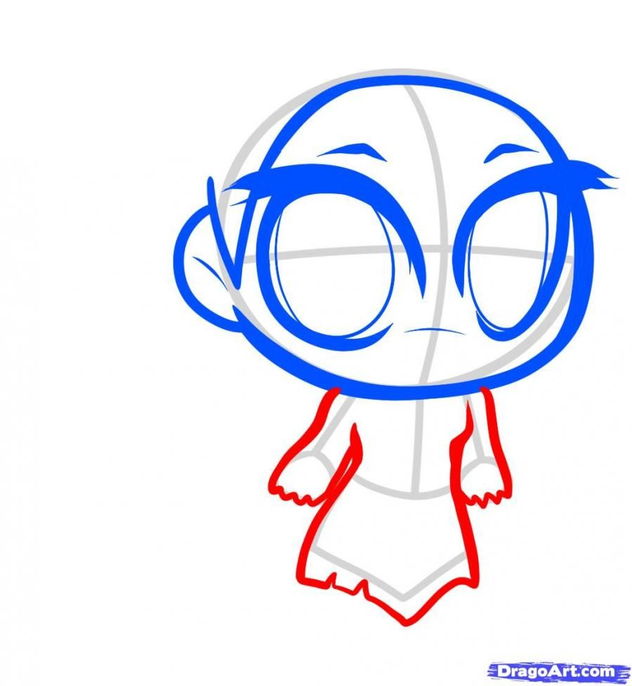 How to draw Avatar chib with a pencil step by step 5