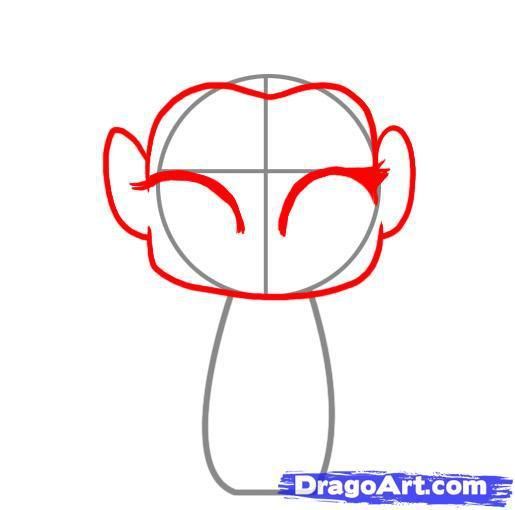 How to draw chib of an angel with a simple pencil step by step 3