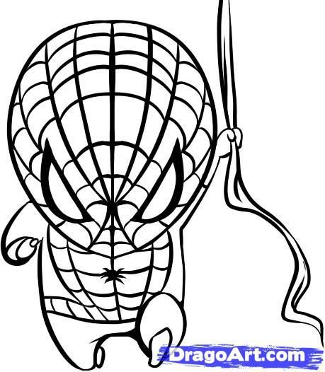 How to draw the spiderman's chib on paper with a pencil step by step