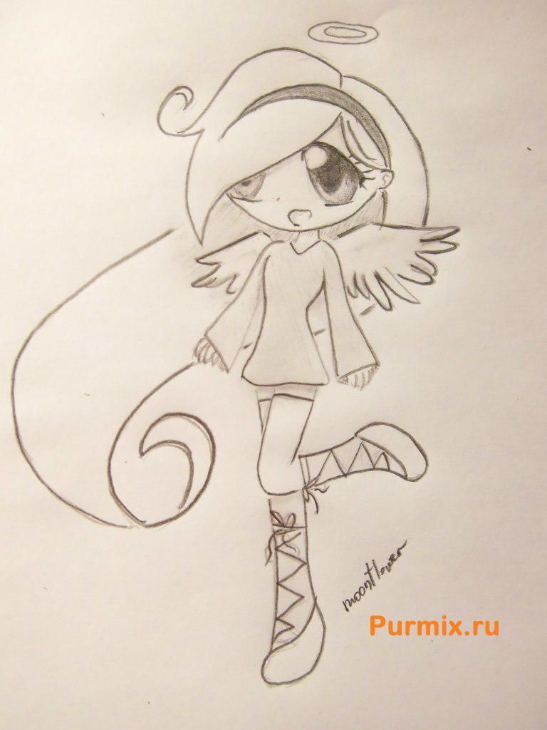 How to draw chib of an angel with a simple pencil step by step