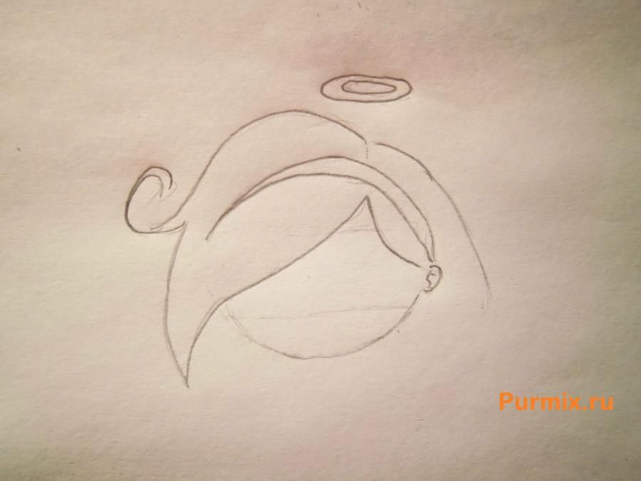 How to draw chib of an octopus with a pencil step by step 3