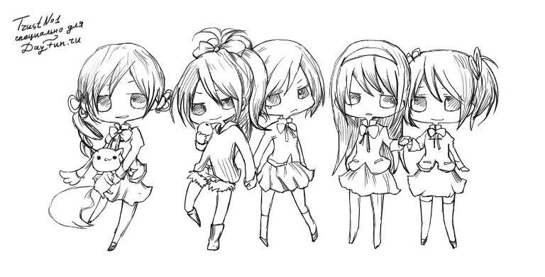 How to draw chib of girls with a pencil step by step