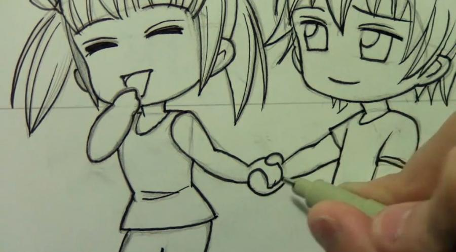 How to draw chib the Torah with a simple pencil step by step 11