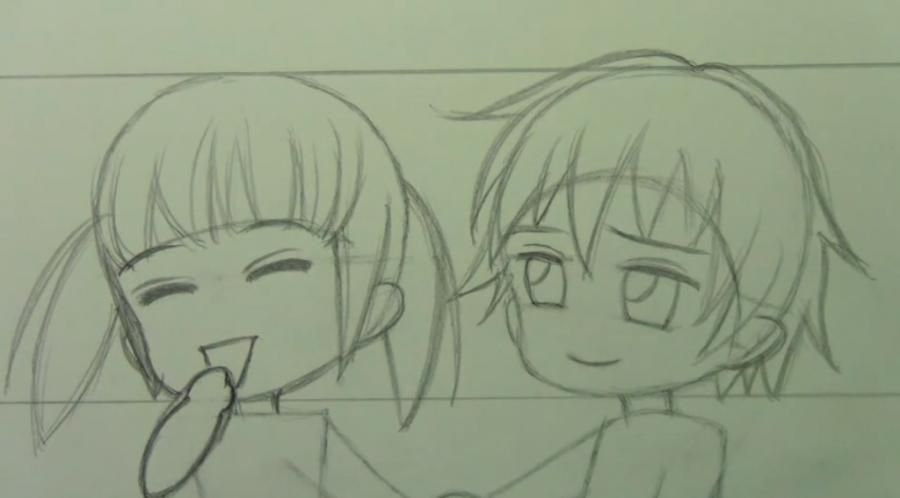 How to draw chib the Torah with a simple pencil step by step 7