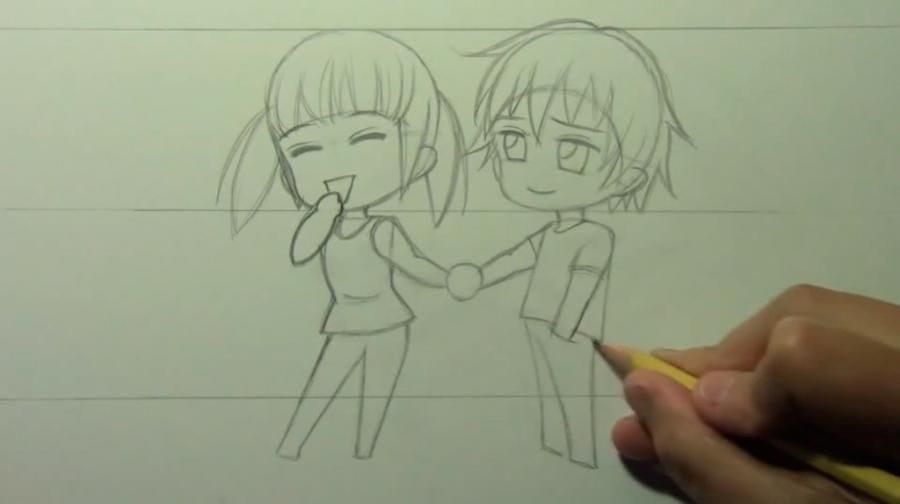 How to draw chib the Torah with a simple pencil step by step 8