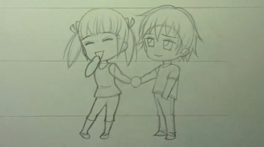 How to draw chib the Torah with a simple pencil step by step 9