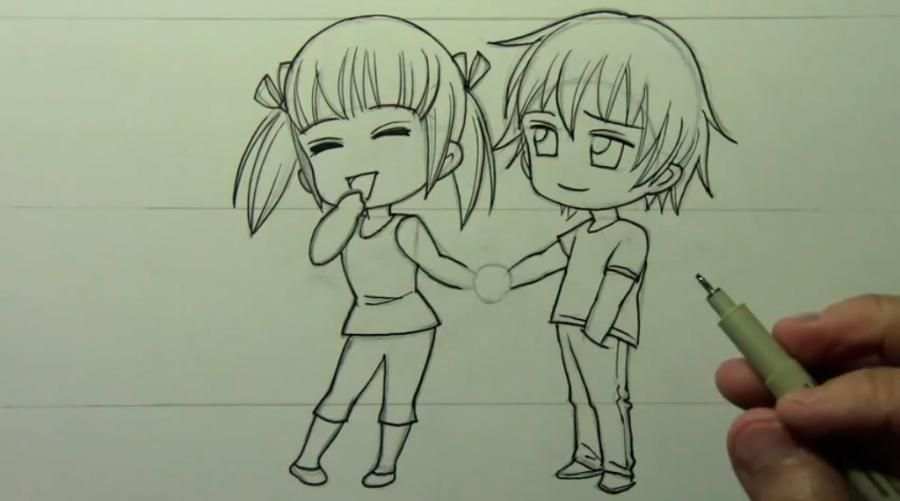 How to draw chib the Torah with a simple pencil step by step 10