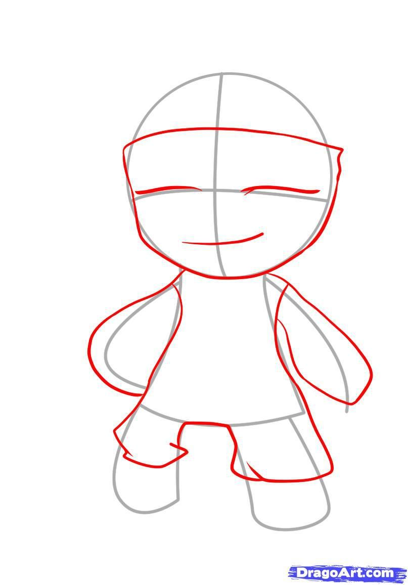 How to draw Mike Vazovski's chib with a pencil on paper step by step 3