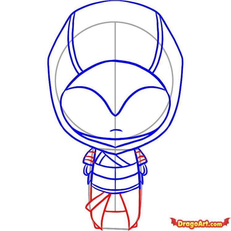 How to draw Freddie Kruger's chib with a pencil step by step 6