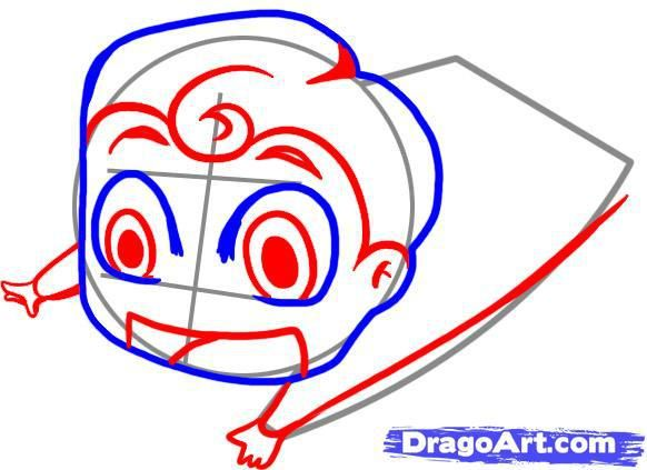 How to draw chib the Little Mermaid with a simple pencil step by step 4