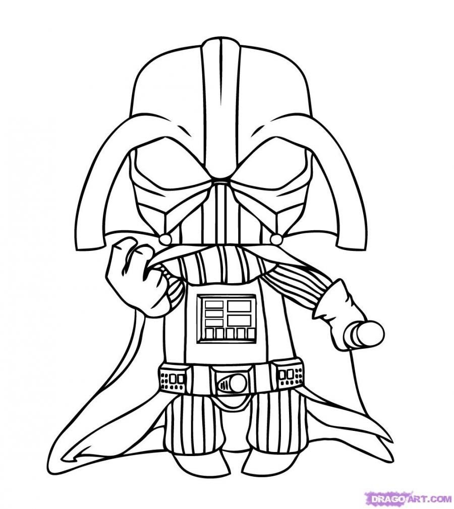 How to draw chib Darth of Vader with a pencil step by step