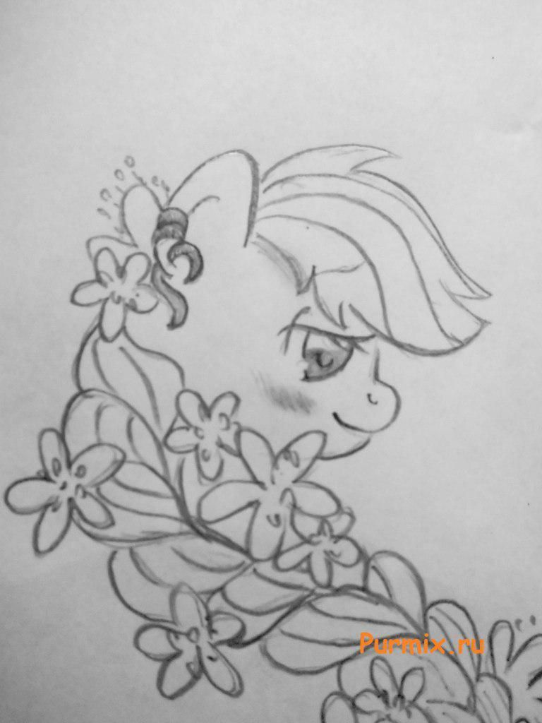 How to draw a pony Eppldzhek from Friendship is a miracle 5