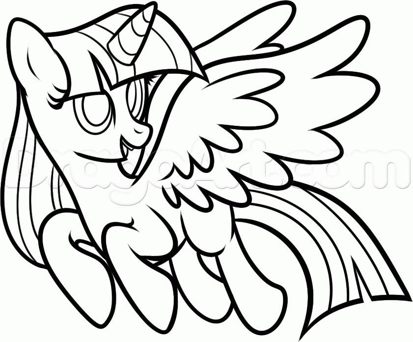 How to draw a pony of Twilight Sparkle with a pencil step by step