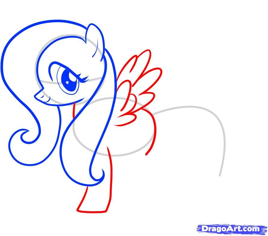 How to draw Skutala (Scootaloo) from the Friendship is a miracle a pencil step by step 7