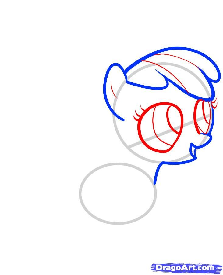 How to draw a pony the Rainbow Desh (Rainbow Dash) with a pencil step by step 4