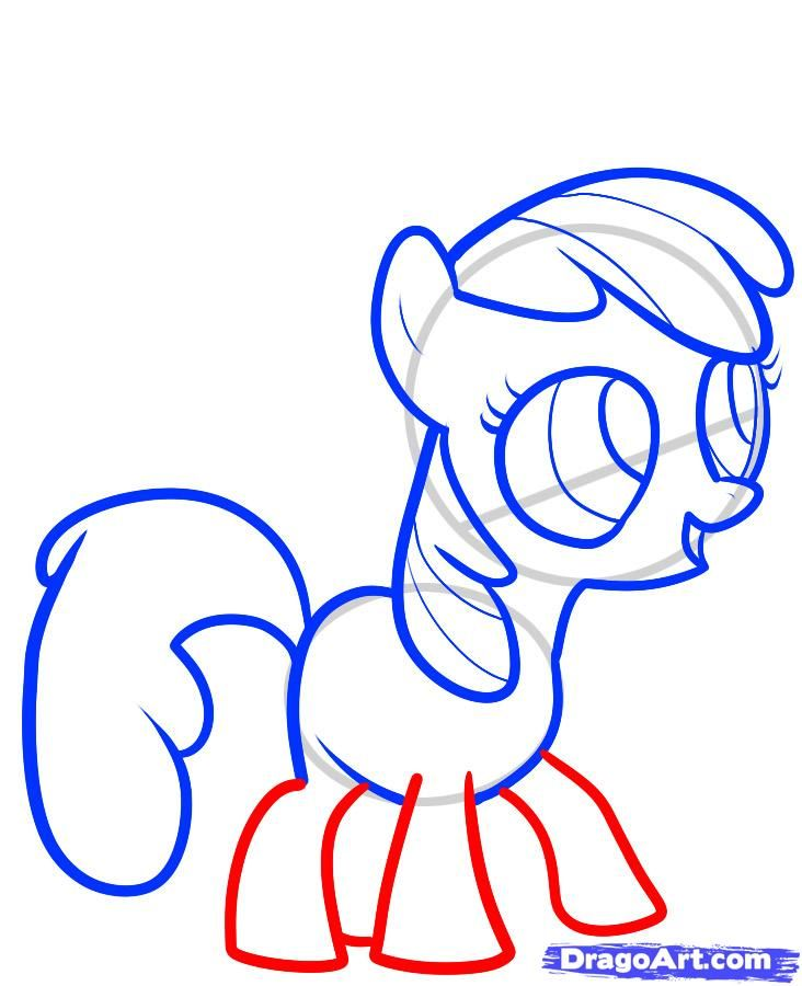 How to draw a pony the Rainbow Desh (Rainbow Dash) with a pencil step by step 6