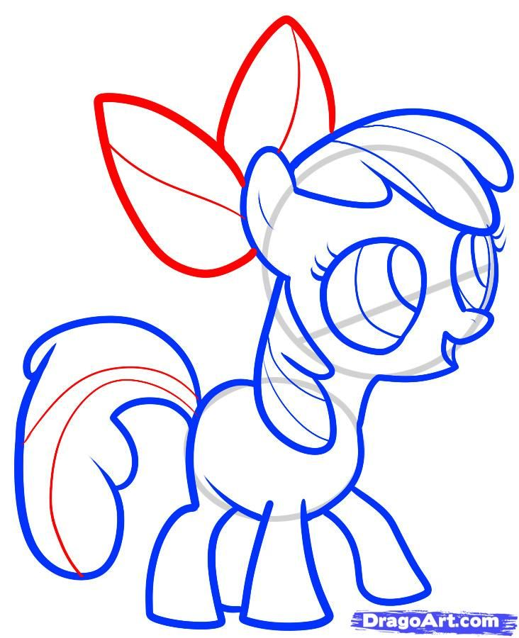 How to draw a pony the Rainbow Desh (Rainbow Dash) with a pencil step by step 7
