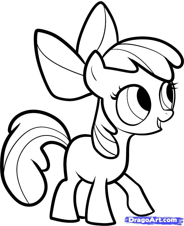 How to draw a pony Eppl Blum (Apple Bloom) with a pencil step by step