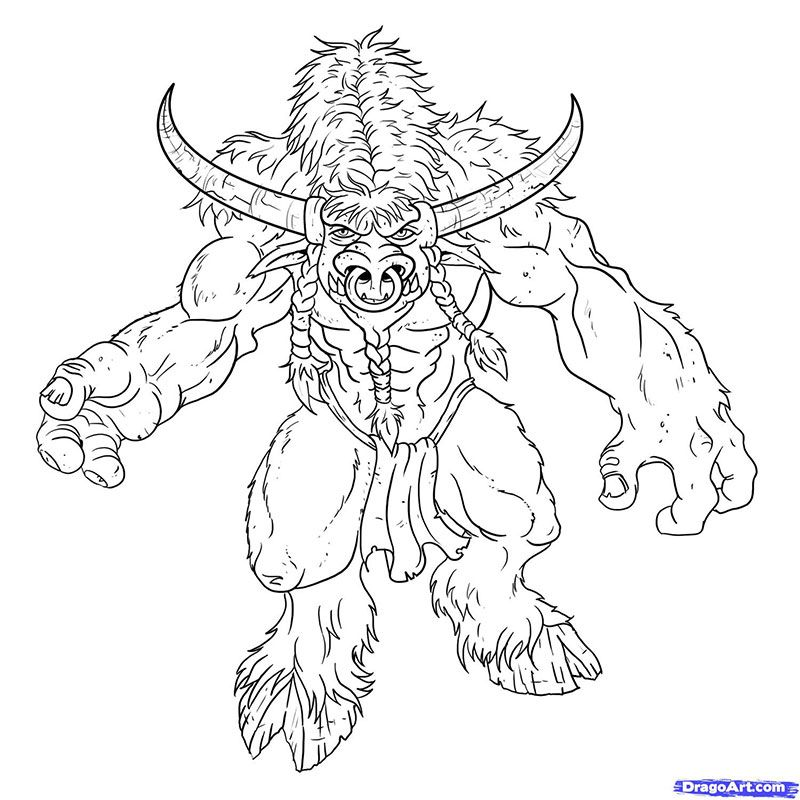 How to draw Tauren from World of Warcraft with a pencil step by step