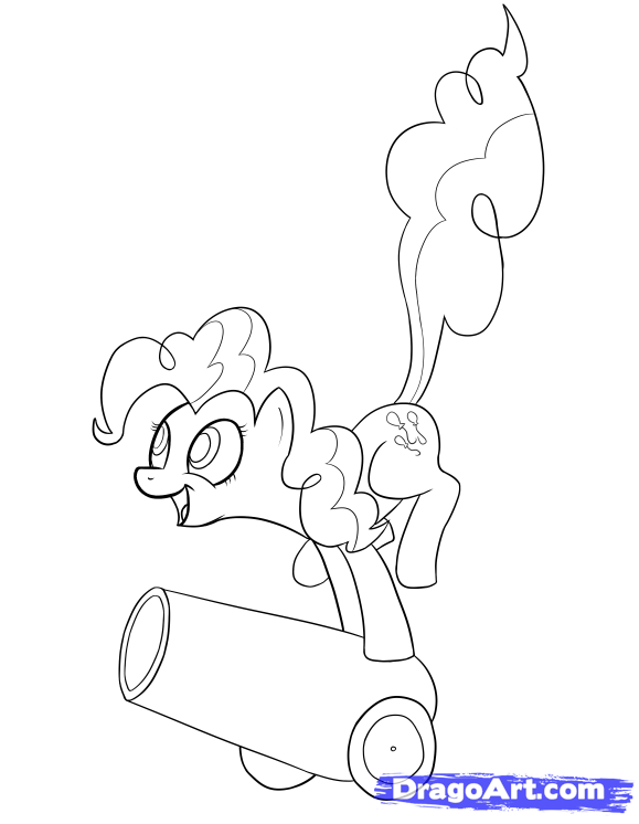 How to draw a pony Pinki Pai on a down with a pencil step by step