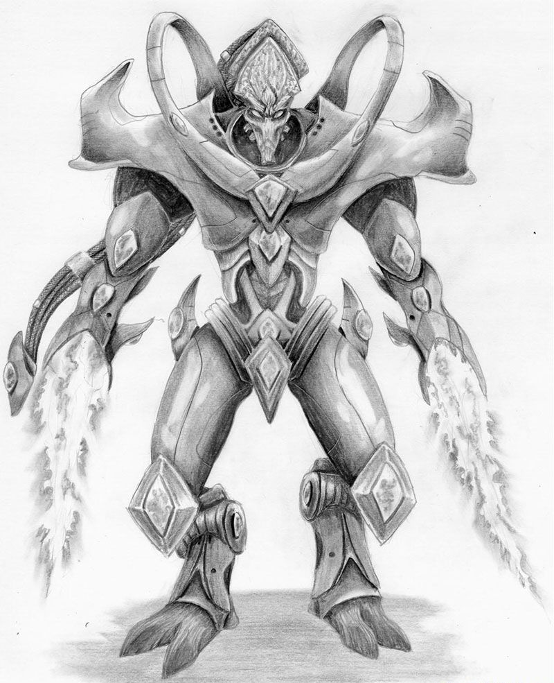 How to draw Protoss from Starcraft with a pencil step by step