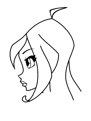 How to draw the person Blum in a profile with a pencil step by step