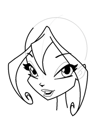 How to draw Blum (Bloom) from the animated film of Vinks (Winx) step by step 16