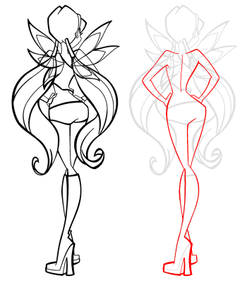 How to draw Blum (Bloom) from the animated film of Vinks (Winx) step by step 2