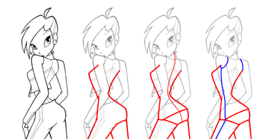 How to draw Blum (Bloom) from the animated film of Vinks (Winx) step by step 6