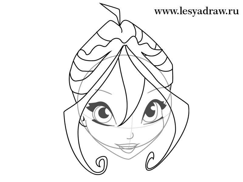 How to draw Blum (Bloom) from the animated film of Vinks (Winx) step by step 5