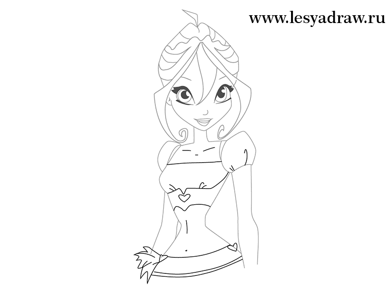 How to draw Blum (Bloom) from the animated film of Vinks (Winx) step by step 7
