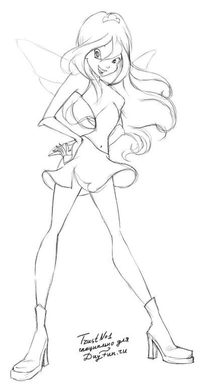 How to draw Blum (Bloom) from the animated film of Vinks (Winx) step by step 4