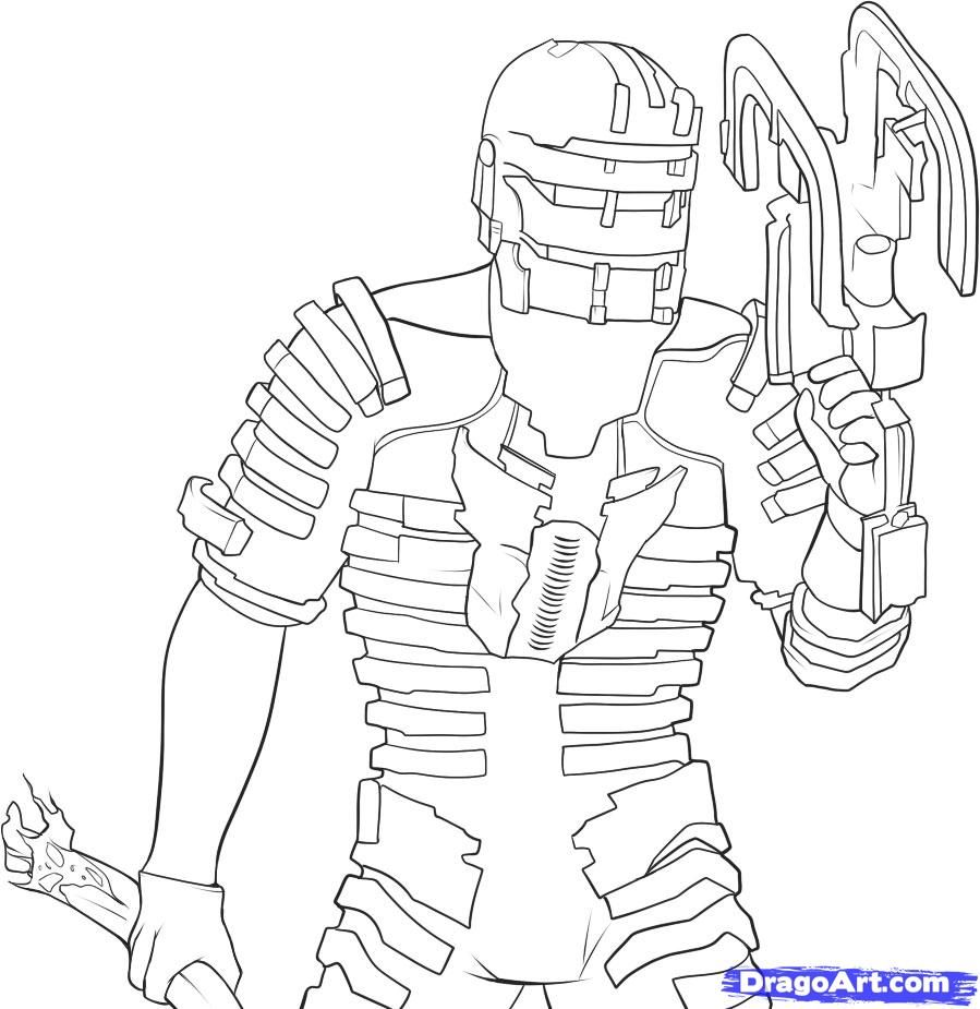 How to draw Isaac Clark from dead space with a pencil step by step