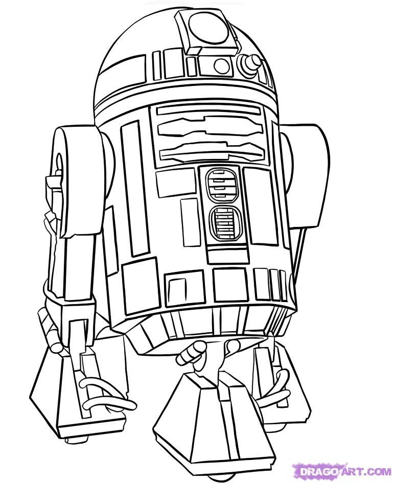 How to draw Ayr-two-de-two (R2-D2) with a pencil step by step