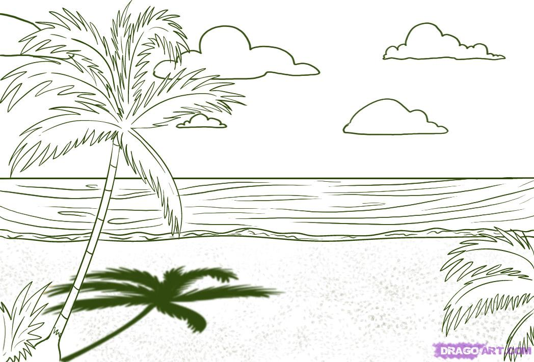 How to draw a beach with a palm tree a pencil step by step