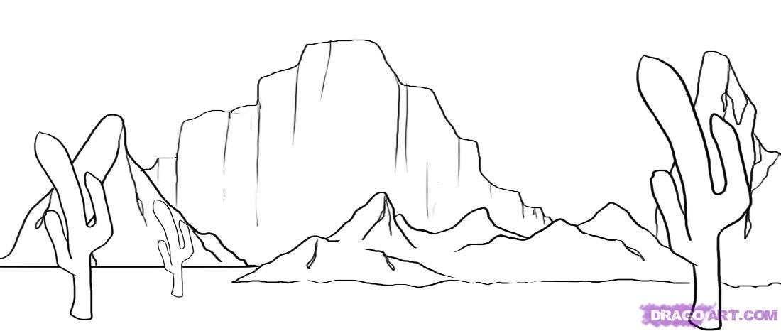 How to draw a desert landscape with a pencil step by step